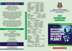 2018 OAU SCIENCE CONFERENCE FRONT PAGE